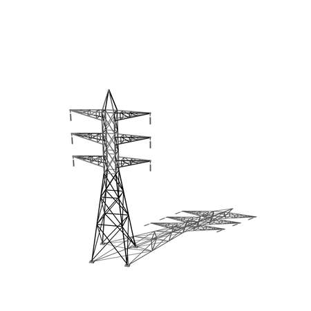 Power transmission tower. Isolated on white background. 3D rendering illustration. Cartoon style. Stock Photo