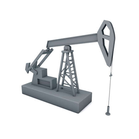 Oil pump jack.Isolated on white background.3D rendering illustration. Stock Photo