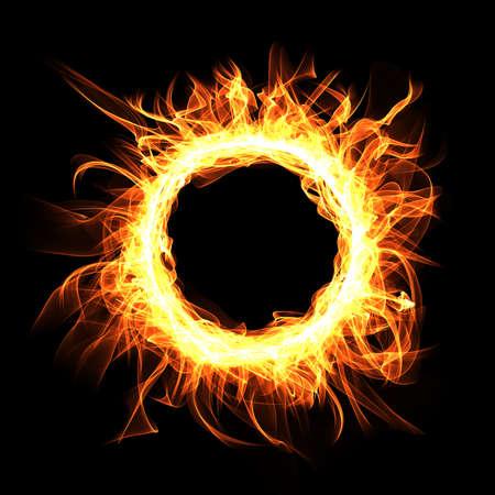 Round Fire frame on black background. Digital illustration. Stock Photo