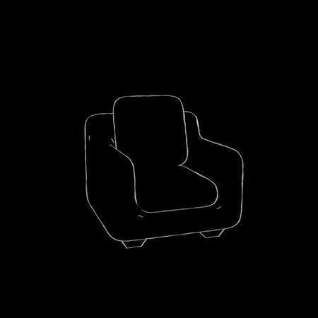 Armchair.Isolated on black background. Sketch illustration.