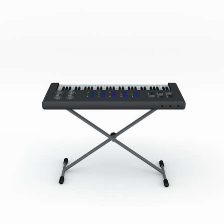 Synthesizer. Isolated on white background. 3D rendering illustration.