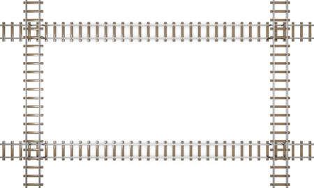 Railway track frame. Isolated on white background. 3D rendering illustration.