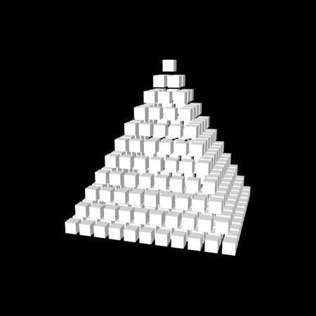 Abstract 3d pyramid from cubes. Isolated on black background. Vector illustration.