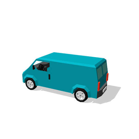 Polygonal minibus. Isolated on white background. Vector illustration. Illustration