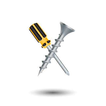 Crossed screwdriver and screw. Isolated on white background. Vector illustration. Illustration