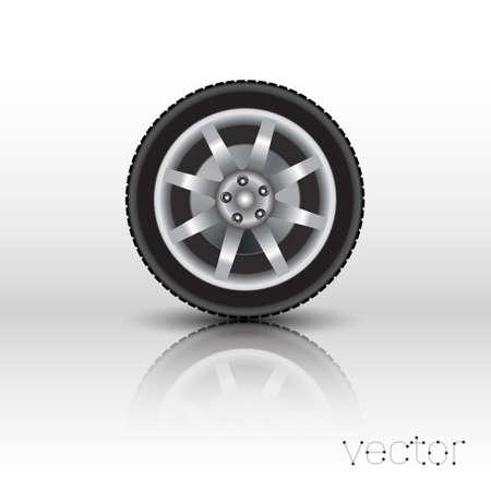 car wheel isolated on white background. Vector illustration.