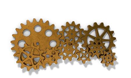 Metallic cogwheel set. Isolated on white background. 3D rendering illustration. Stock Photo