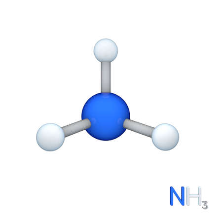 amoniaco: Ammonia model molecule. Isolated on white background. 3D rendering illustration. Foto de archivo