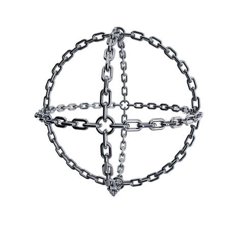 Metal chain in form of sphere. Isolated on white background.3D rendering illustration.