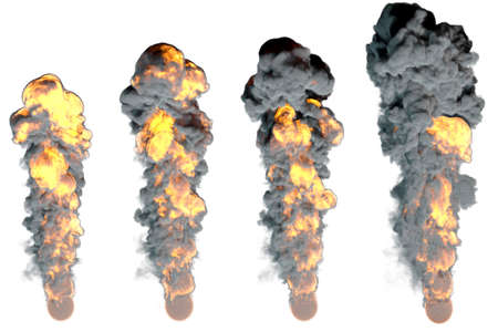 Stages of fiery explosion.Isolated on white background.3D rendering illustration.