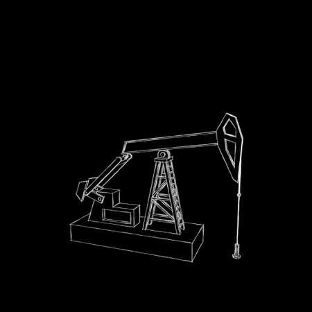 Oil pump jack.Isolated on black background.Sketch illustration.