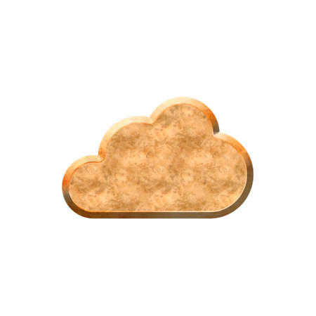 Metal textured badge in form of cloud. Isolated on white background.