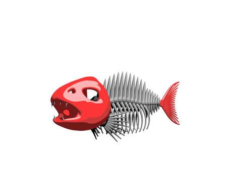 Fish skeleton. Isolated on white background. 3D rendering illustration.