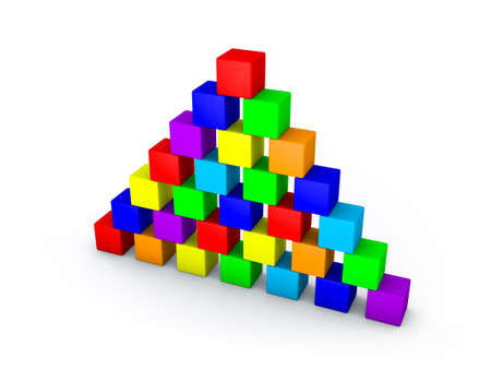 Pyramid from toy building blocks.Isolated on white background. 3D rendering illustration.