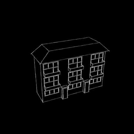 House. Isolated on black background. Sketch illustration. Stock fotó