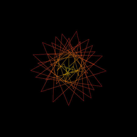 lineart: Abstract geometric shape of lines. Isolated on black background. Vector outline illustration.