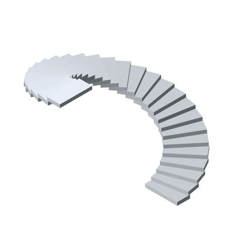 Spiral staircase. Isolated on white background.3d Vector illustration.Isometric view. Illustration