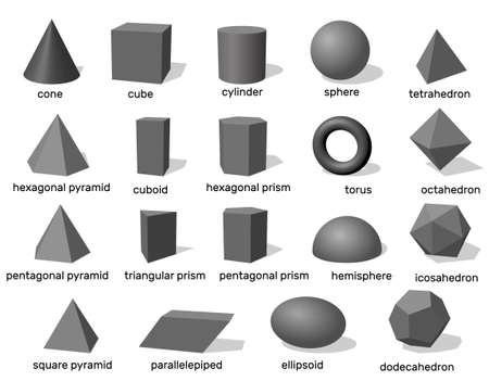 Formes géométriques 3d de base. Isolé sur fond blanc. Illustration vectorielle.