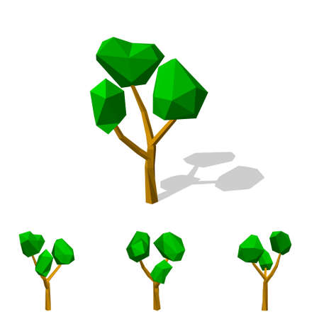 Polygonal tree. Isolated on white background.3d Vector illustration.