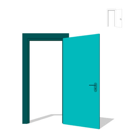 lineart: Open door. Isolated on white background. 3d Vector illustration.Front view. Illustration