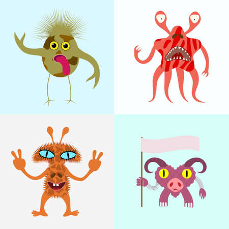 Abstract monsters set. Vector illustration.