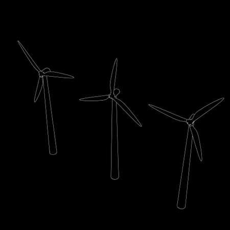 lineart: Wind turbin set.Isolated on black  background.Vector outline illustration.