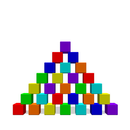 Piramide van speelgoed bouwstenen. Geïsoleerd op witte achtergrond. 3D-vector kleurrijke illustratie. Vooraanzicht.