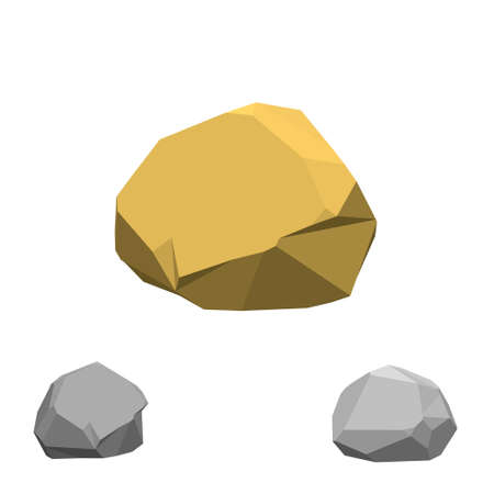 Polygonal stone. Isolated on white background.3d Vector illustration.