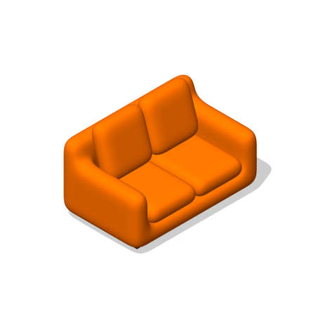 Sofa. Isolated on white background. 3d Vector illustration. Illustration