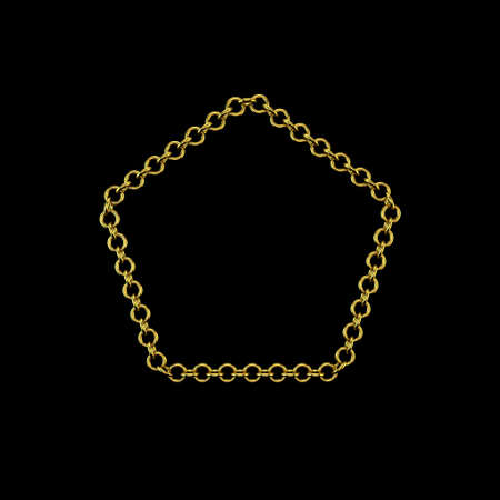 Golden chain. Isolated on black background. 3D rendering illustration. Pentagon frame. Archivio Fotografico