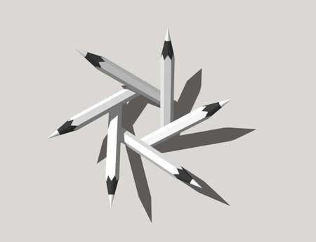 Pencils frame. Isolated on gray background. 3D rendering illustration. Stock Photo