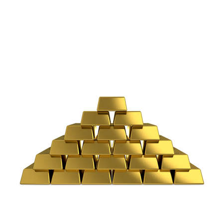 Pyramid from golden bars.Isolated on white background. 3D rendering illustration.