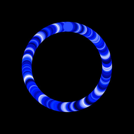 Abstract circle of circles. Isolated on black background. Vector colorful illustration. Luminance effect. Illustration