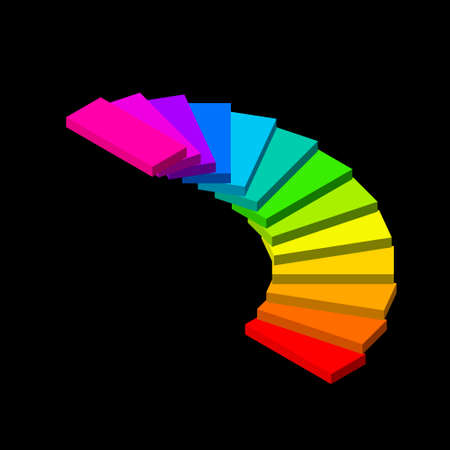 Colorful spiral staircase image illustration