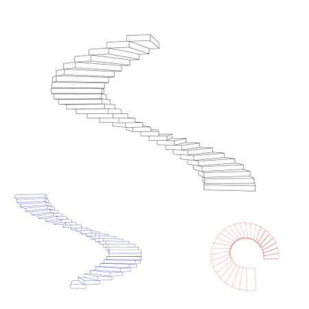 Spiral staircase set. Isolated on white background. Vector outline illustration.  イラスト・ベクター素材