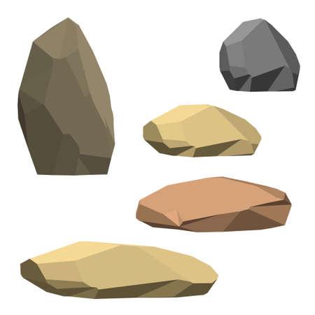 Polygonal stone set. Isolated on white background.3d Vector illustration.