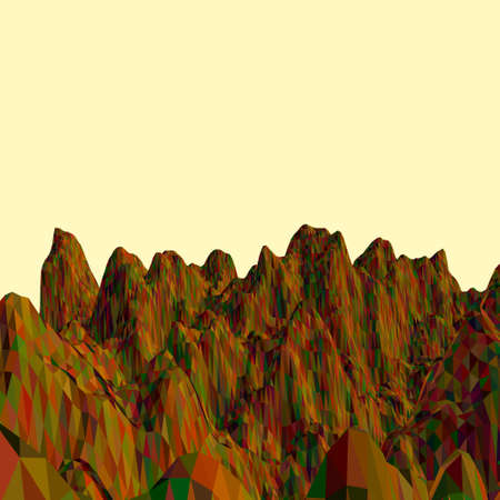 Abstract landscape. Mountain surface. Polygonal vector colorful illustration.