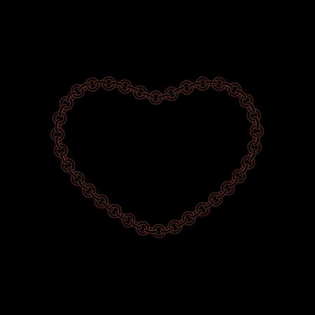 Chain frame.Heart. Isolated on black background.Vector outline illustration.