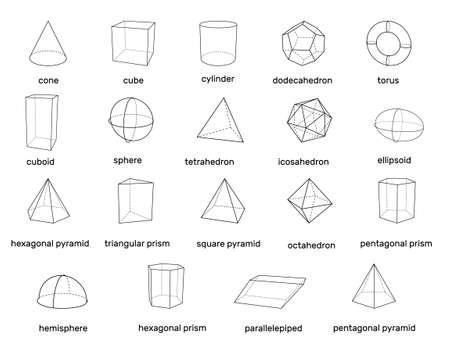 Basic 3d geometric shapes. Isolated on white background. Vector outline illustration.