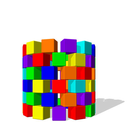 Tower from toy building blocks. Isolated on white background. 3d Vector colorful illustration.