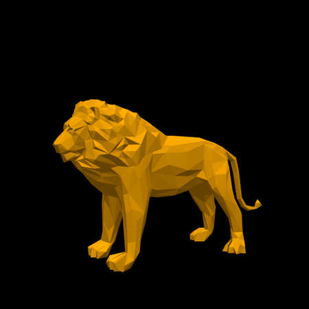Polygonal lion. Isolated on black background.