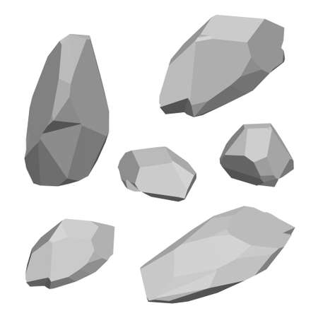 Polygonal stone set. Isolated on white background. 3d Vector illustration. Isometric view.