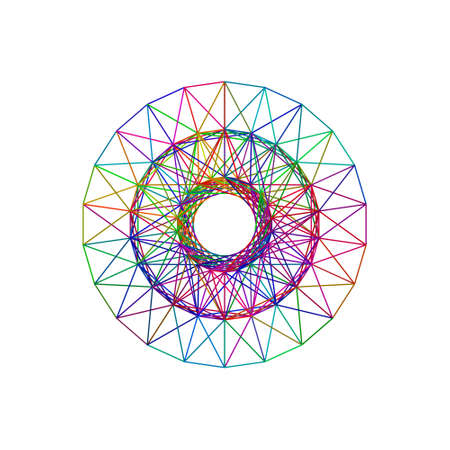 Circle carcass framework. Isolated on white background.Vector colorful illustration.