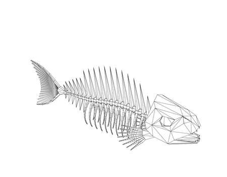 Veelhoekig vissenskelet. Geïsoleerd op witte achtergrond Vector overzichtsillustratie. Stock Illustratie