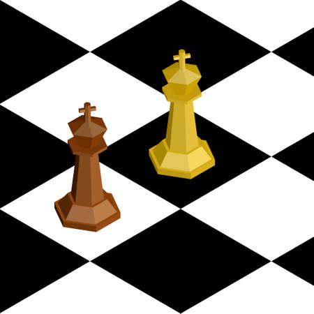 3D isometric chess figures vector illustration.