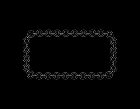 Chain frame rectangle isolated on black background vector outline illustration.