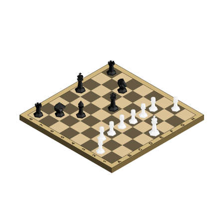 3D isometric chess board with black and white figure vector illustration. Stock fotó - 99510716