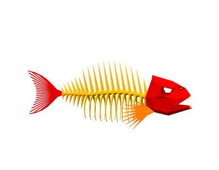 Polygonal Fish skeleton. Isolated on white background.Vector illustration.