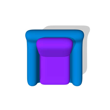 Armchair. Isolated on white background. 3d Vector illustration. Top view.