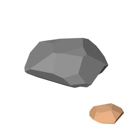 Polygonal stone.  Isolated on white background. 3d Vector illustration. Isometric view. Ilustração
